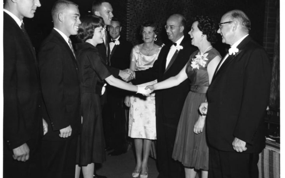 President's Reception, at the opening social event of the year, the President's Reception for students, are (from right) Chancellor Emil Mrak and Vera Mrak, President Clark Kerr and Catherine Kerr, and Acting Vice Chancellor Vernon I. Cheadle, October 2, 1961