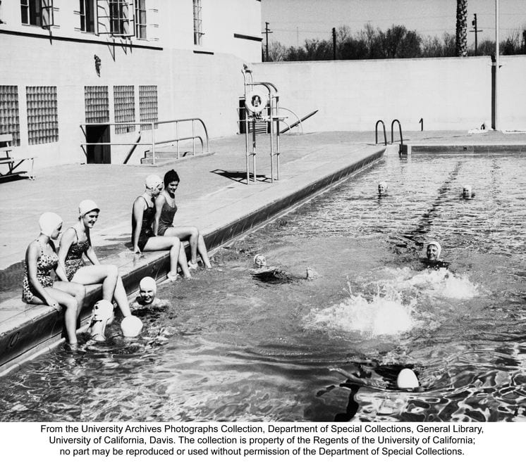 Students at the Hickey Gymnasium pool, undated