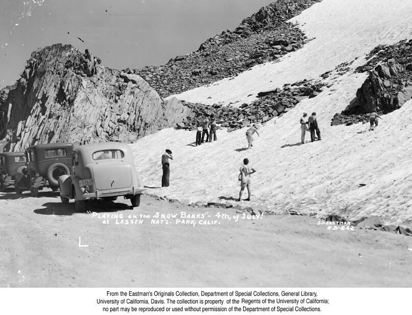 """""""Playing on the Snow Banks"""" - 4th, of July! At Lassen Nat'l. Park, Calif., 1936"""