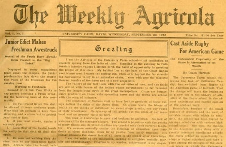 Happy 100th Birthday to the California Aggie newspaper!