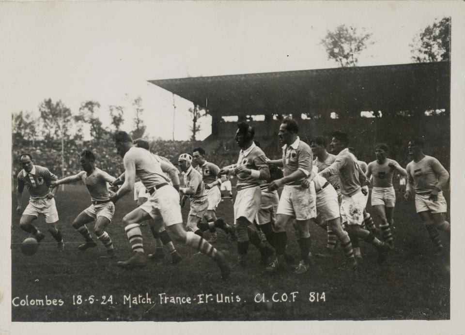 "Colby E. ""Babe"" Slater, third from left, plays in the gold medal rugby match at the 1924 Olympics."
