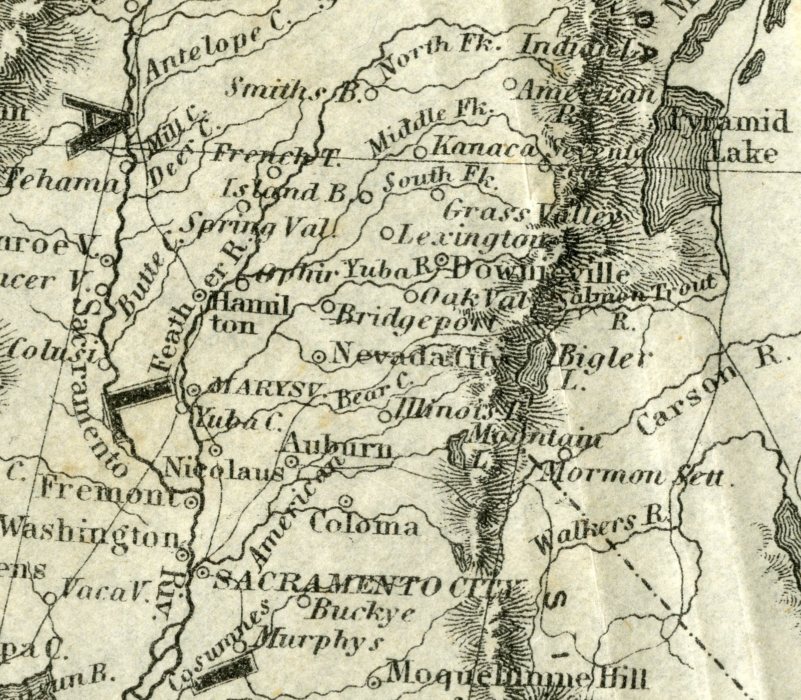 "1853 Map of The United States Showing ""Bigler L. [Lake]"""