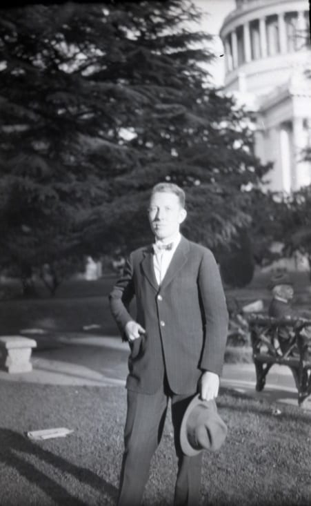 Henry D. Greene outside California State Capitol, circa 1925-1928.