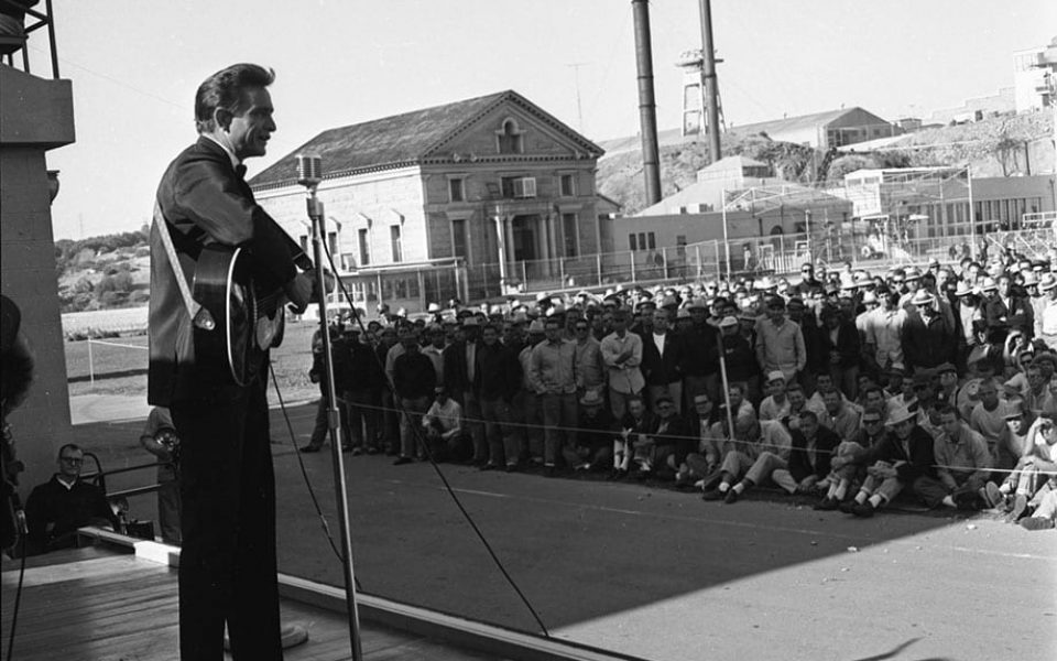 Johnny Cash performs at Folsom Prison on November 8, 1966. Photograph from the Sacramento Union Archives, D-350.