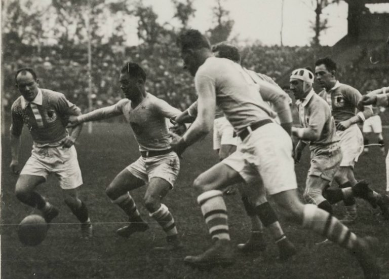 "UC Davis alum Colby E. ""Babe"" Slater, third from left, plays in the gold medal rugby match at the 1924 Olympics (University Archives/Special Collections)"