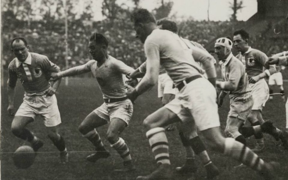 "UC Davis alum Colby E. ""Babe"" Slater, third from left, plays in the gold medal rugby match at the 1924 Olympics (Special Collections/UC Davis Library)"