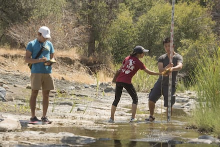 "As part of a project to collect data from 65 different California rivers or streams this summer, UC Davis students work in a water system near Willows, California. The data collected will help help build a web-based map showing the physical characteristics of representative samples or ""reaches"" of California rivers and how they provide benefits for riparian vegetation, fish and the aquatic environment."