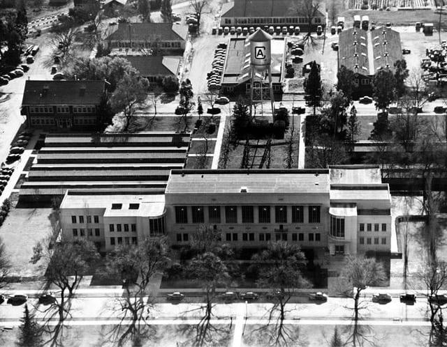 Aerial view of the Library ca 1950