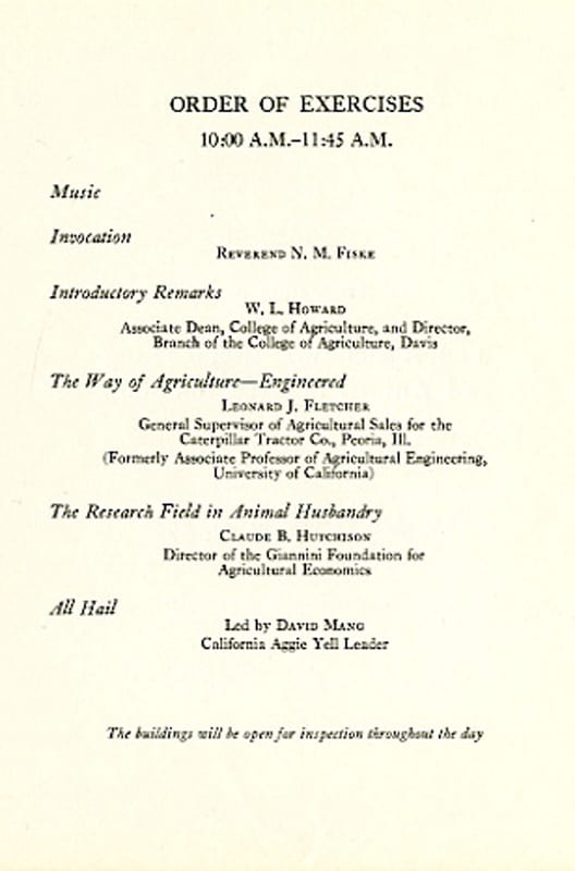 Program for the dedication of the Agricultural Engineering Building