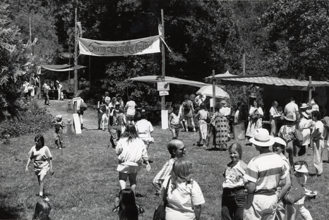 Entrance to the outdoor stage, Sierra Storytelling Festival, 1989. Photograph by Ray Hunold.