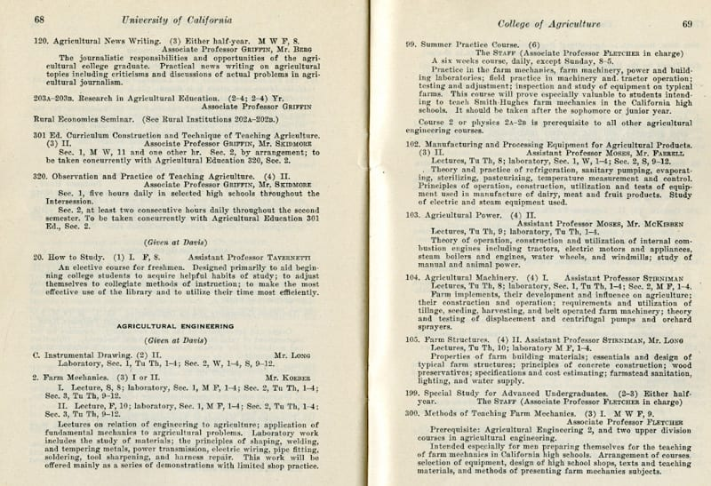Agricultural Engineering class listing from the Prospectus of the College of Agriculture, 1925-1926.