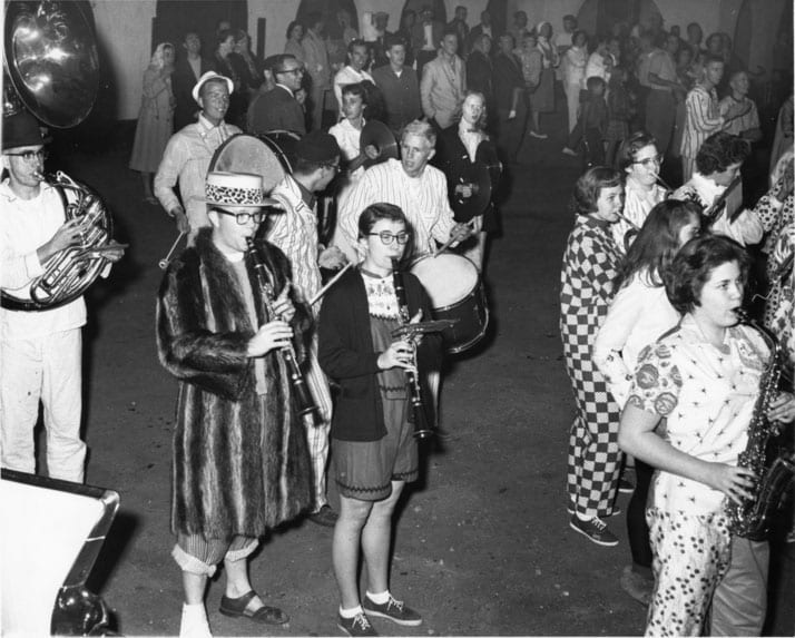 Pajamarino, Bill Hollingshead, on left, in raccoon coat, 1959.