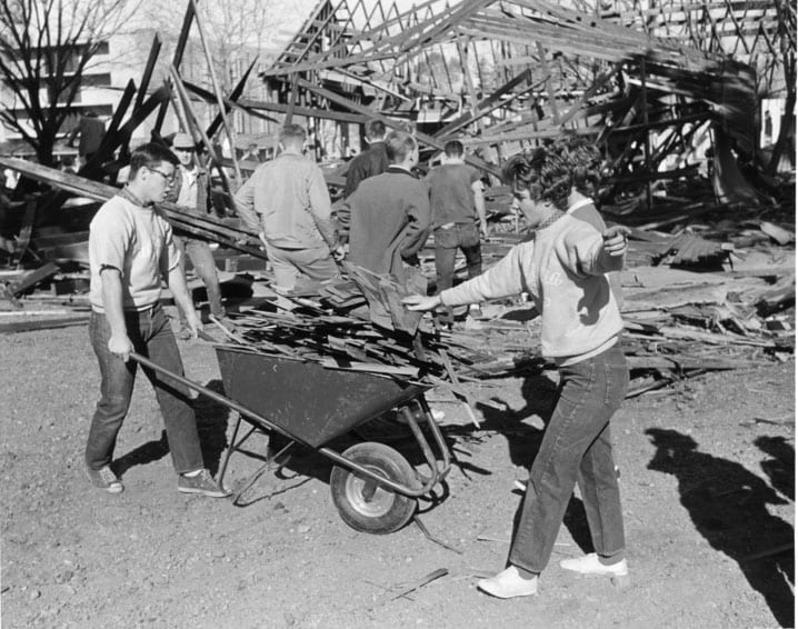 Labor Day, February 29, 1956. For this Labor Day, Aggies painted the Rec Hall, tore down the garage east of the Home Economics building to make way for a new parking lot, and repaired and constructed Picnic Day booths.