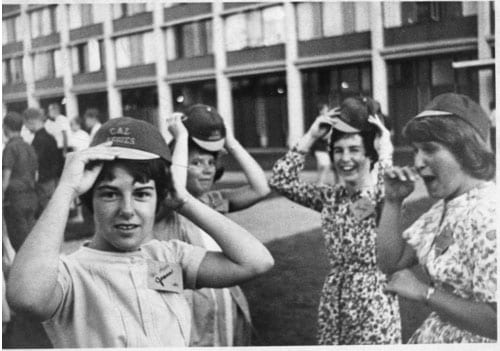 Students wearing frosh dinks, circa 1960s.
