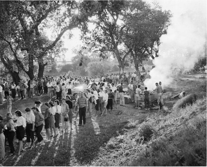 Part of the Orientation Program for new students each fall at Davis was the Steak Bake for both new and returning students on the campus, undated