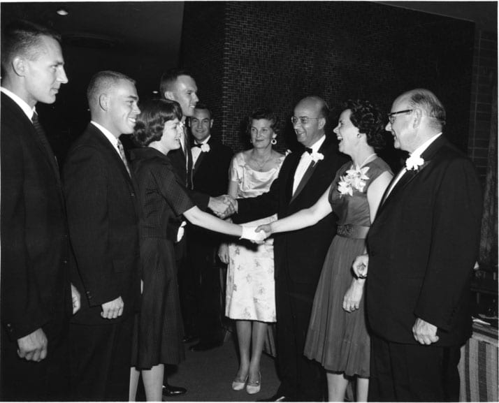 President's Reception, at the opening social event of the year, the President's Reception for students, are (from right) Chancellor Emil Mrak and Vera Mrak, President Clark Kerr and Catherine Kerr, and Acting Vice Chancellor Vernon I. Cheadle, October 2, 1961.