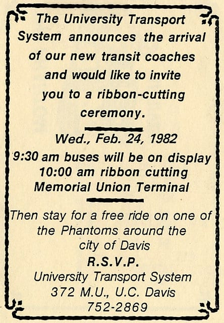 Invitation to ribbon cutting, 1982.