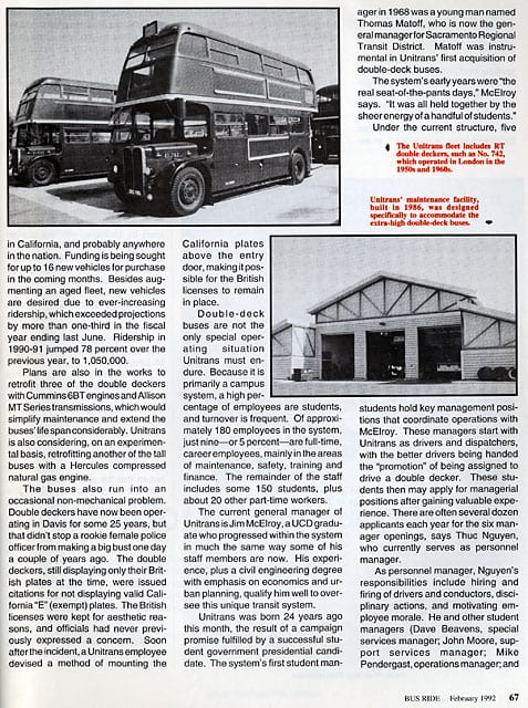 Second page of article from Bus Ride, February 1992.