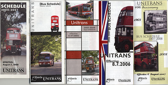 Unitrans schedules, 2000s.