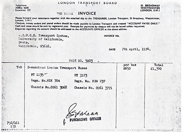 Invoice from London Transport System for two double decker buses, April 7, 1970.