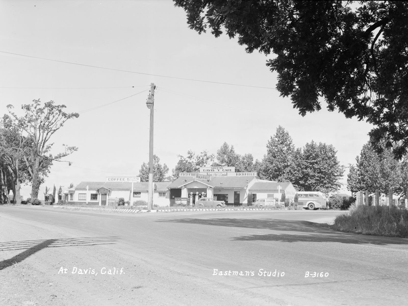 "At the Davis ""Y,"" 1945. This is the current intersection of Russell Blvd. and Route 113"