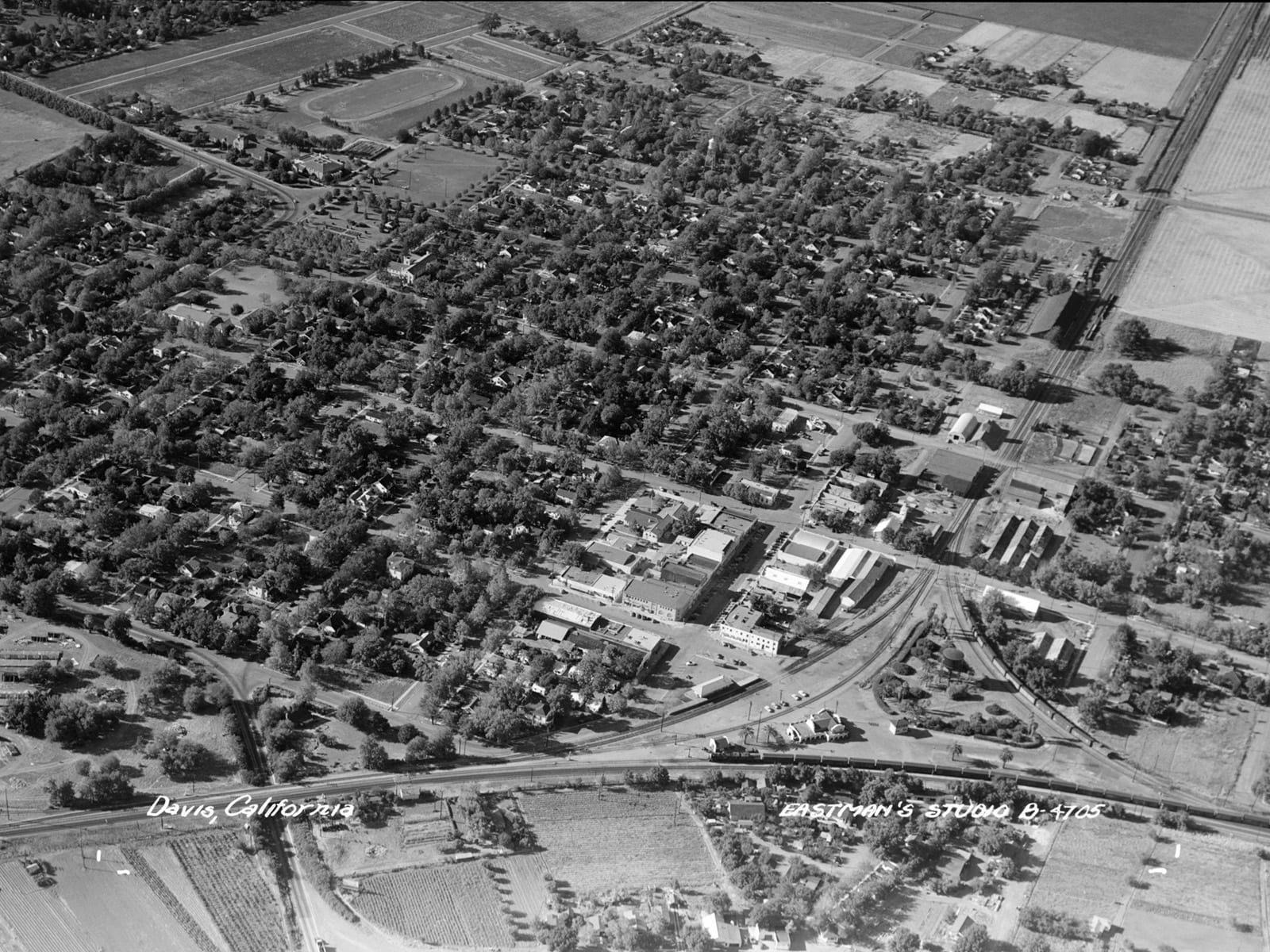 Aerial view of Davis, 1946. Note the railroad depot in the bottom right