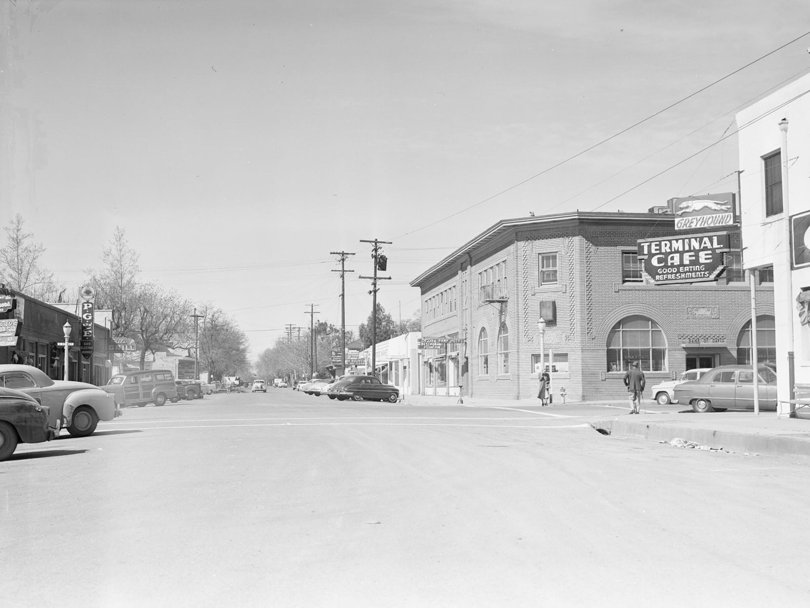 Second Street at F Street, looking west, 1951
