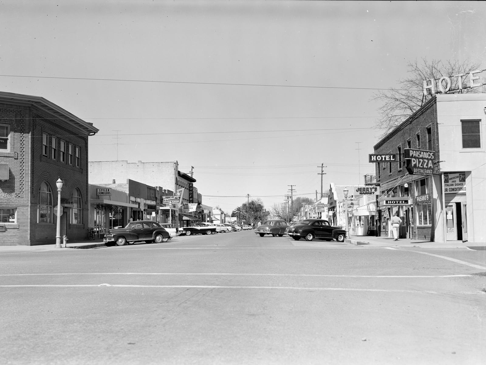 G Street at Second Street, looking north, 1957
