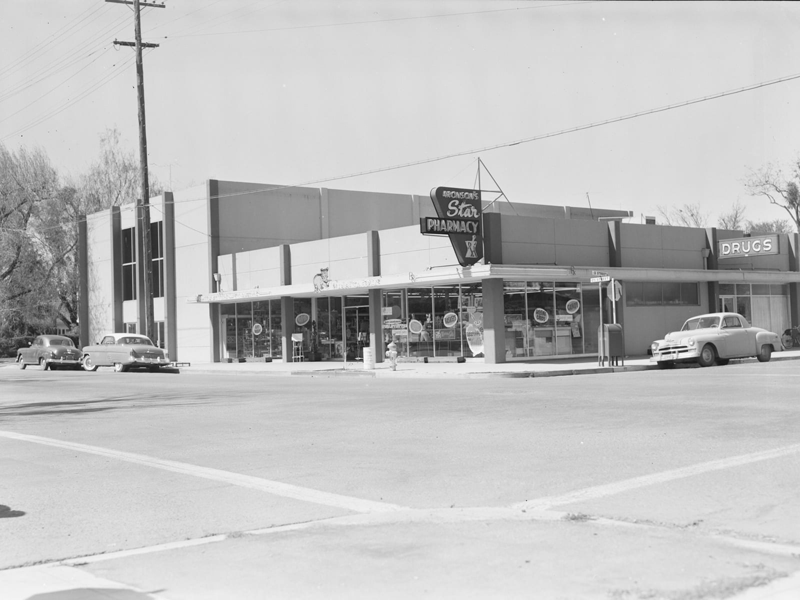 Second and D streets, looking northwest, 1957