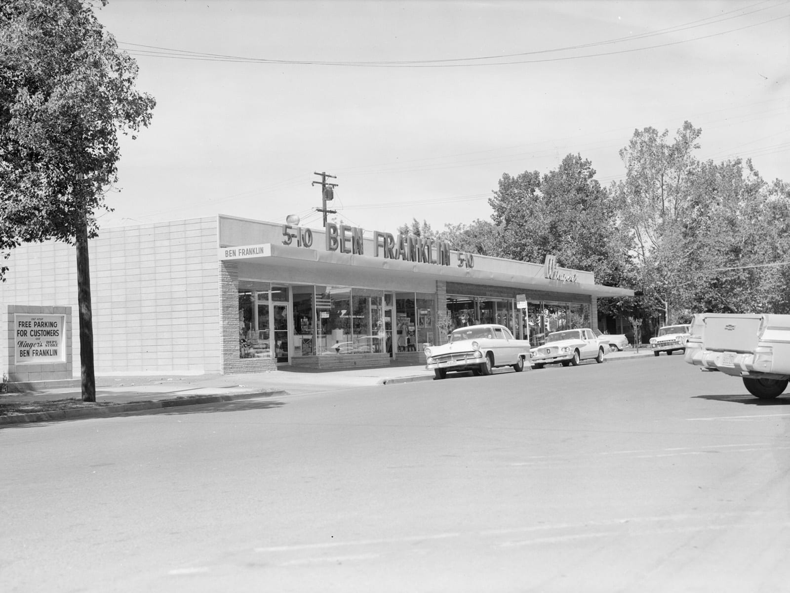 F Street between Second and Third Streets, looking northwest, 1957