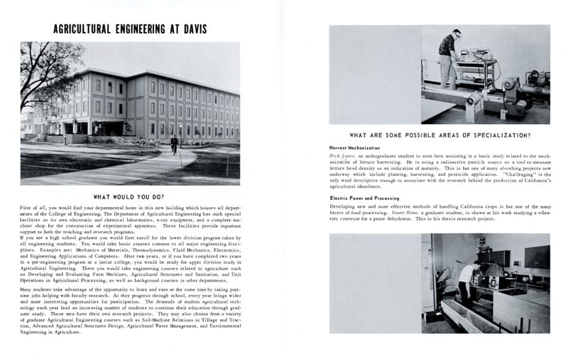 Agricultural Engineering at Davis brochure, 1968.