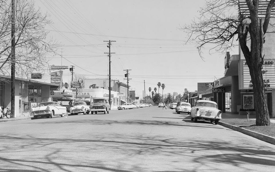 Second Street between E and F Streets, looking east, 1957.