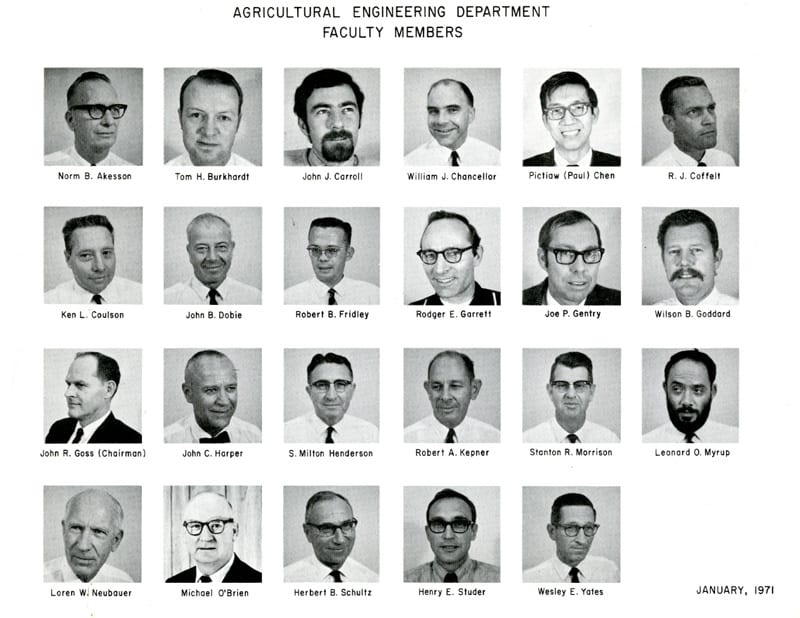 Agricultural Engineering Department Faculty Members, January 1971.