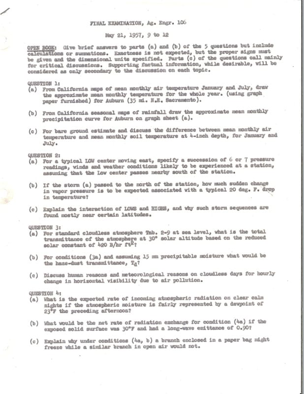 First page of the final examination for Agricultural Engineering 106 taught by Professor Frederick Brooks, 1957.