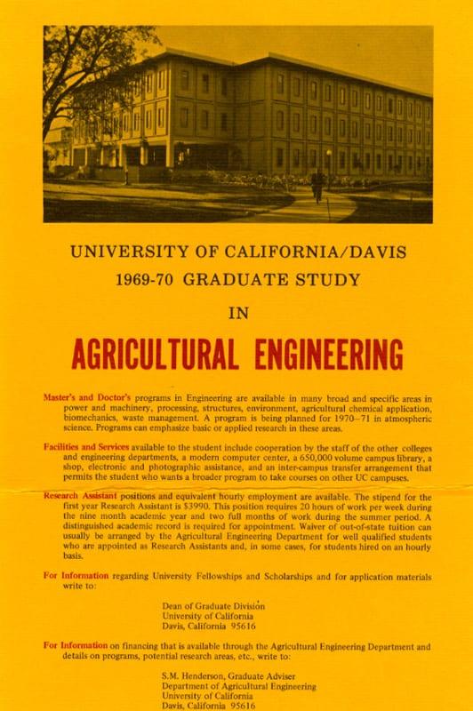 Flyer for Graduate Study in Agricultural Engineering, 1969.