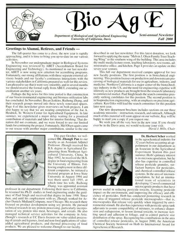 During the 1990s-2000s, the department published a semi-annual newsletter, Bio Ag E.