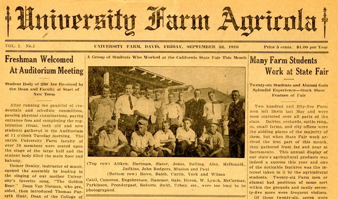 Front page of the September 22, 1916 University Farm Agricola