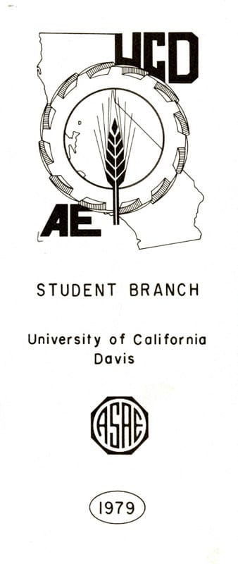 Brochure for the American Society of Agricultural Engineers (ASAE) Student Branch at UC Davis, 1979.