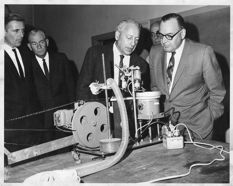 Governor Pat Brown (right) visits the Agricultural Engineering Department. Coby Lorenzen on left, 1965.
