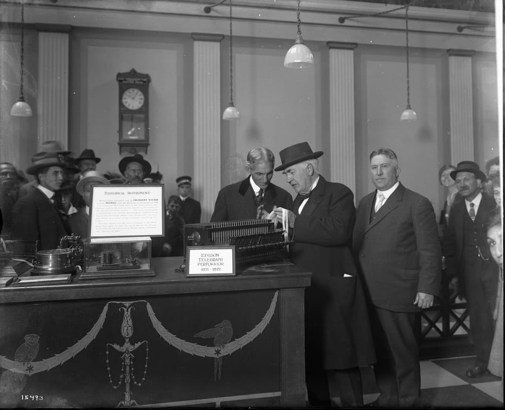Thomas Edison and Henry Ford at Western Union exhibit. Liberal Arts Palace,  Panama Pacific International Exposition, 1915.