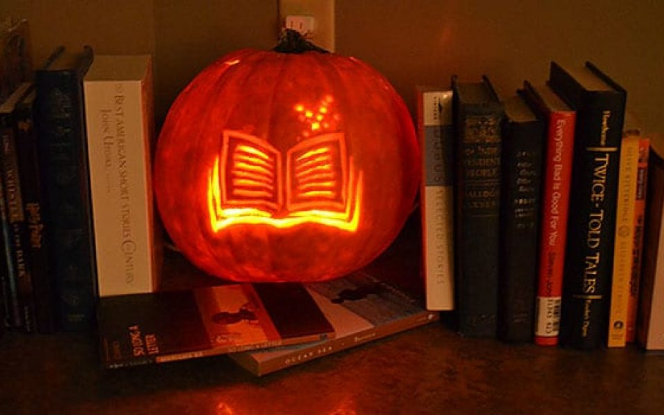 This photo checked out from https://bookriot.com/2015/10/09/incredible-literary-jack-olanterns/
