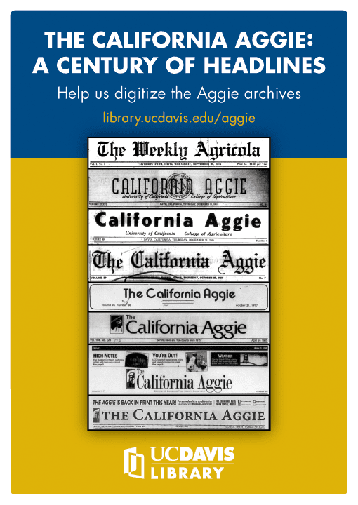 "A poster from 2017 promoting the exhibit, ""The California Aggie: A Century of Headlines"""