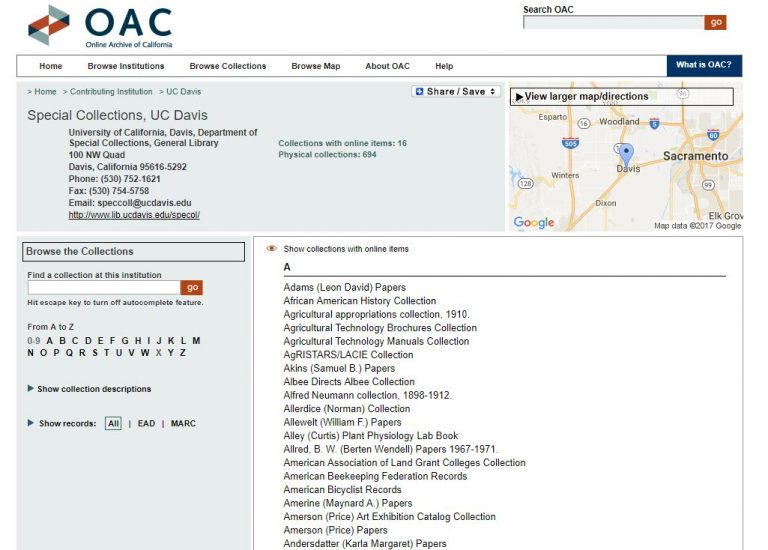 How to request Special Collections materials from a finding aid (OAC) Thumbnail