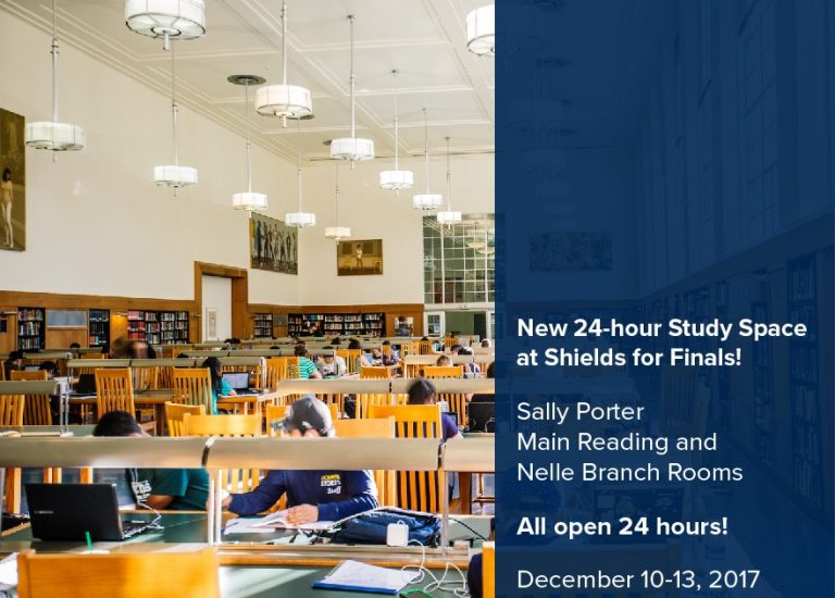 More 24-hour Study Space at Shields for 2017 Fall Finals Thumbnail