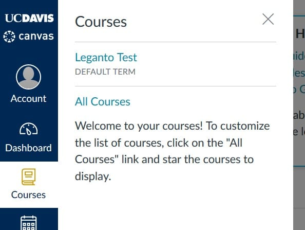 courses frame in Canvas