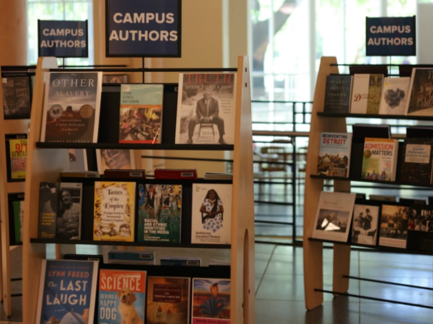 Campus Authors Book Display at Shields Library