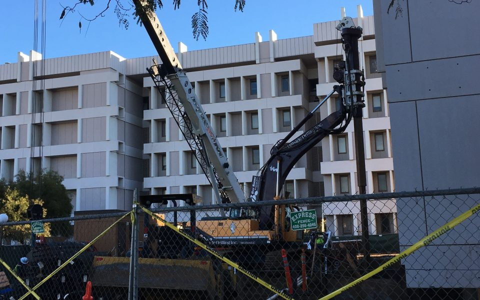Construction on the north side of the Physical Sciences & Engineering Library in December 2018 (Cory Craig/UC Davis Library)