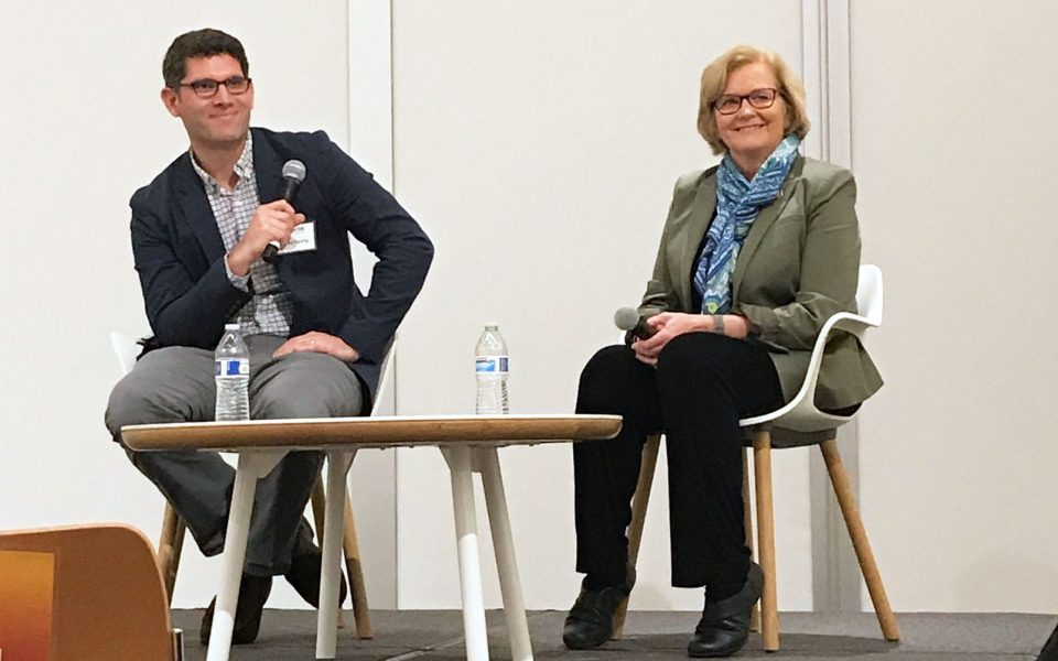UC Davis Food Science and Technology Assistant Professor Ned Spang (left) and Congresswoman Chellie Pingree (D-Maine) (right).