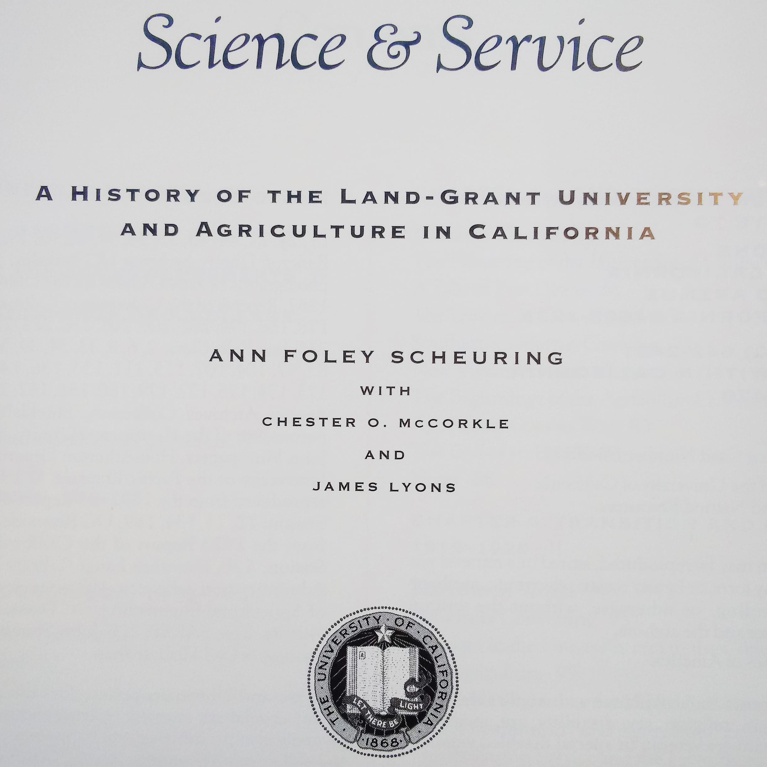 Science and Service by Ann Foley Scheuring, 1995