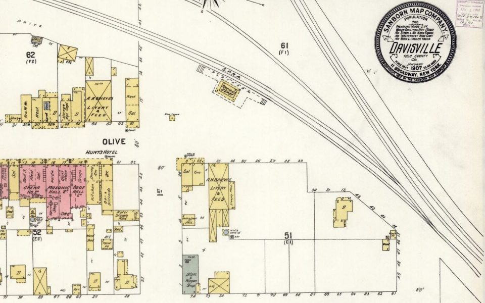 Map of Davis in 1907, when it was called Davisville. Map from Fire Insurance Maps online (FIMo).